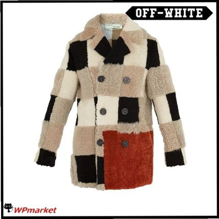 超人気★Off-White Checkered shearling coat★【関税送料込】