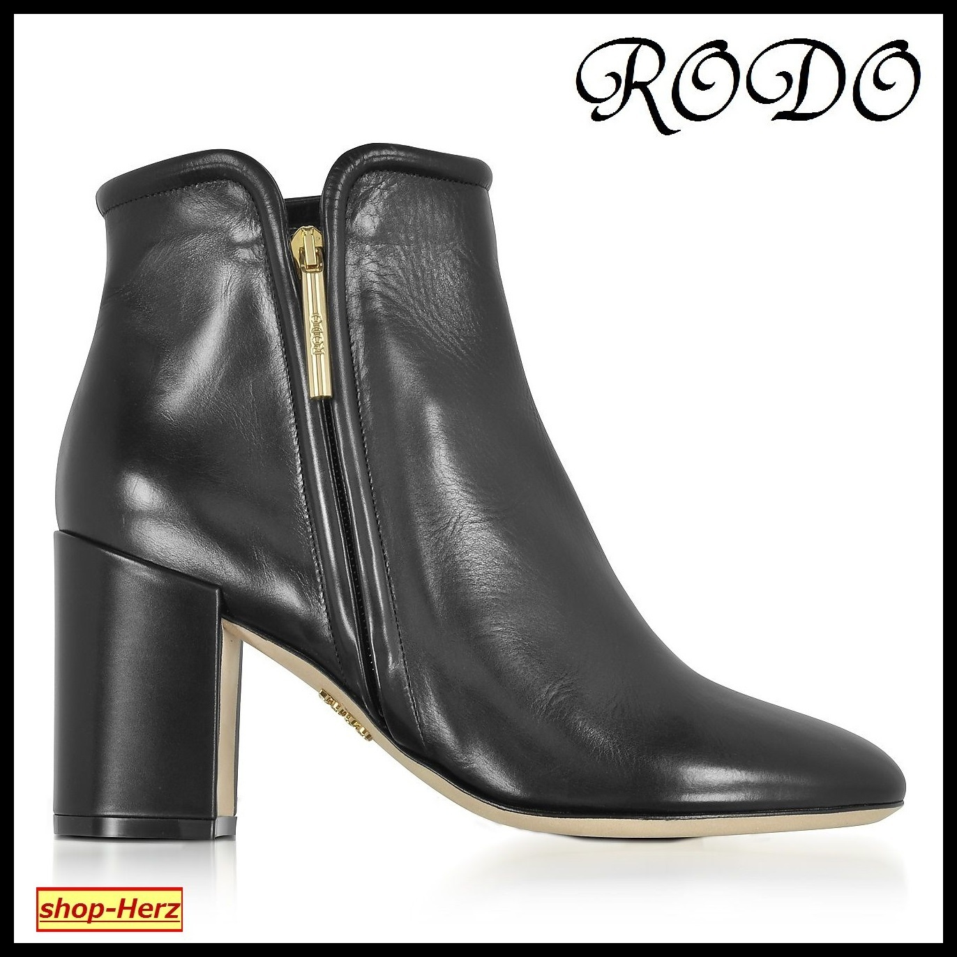 ★RODO★ Black Leather Heel Ankle ヒールブーツ 関税込