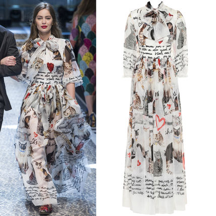 17-18AW DG1333 LOOK64 CATS PRINTED SILK GOWN WITH PUSSY BOW