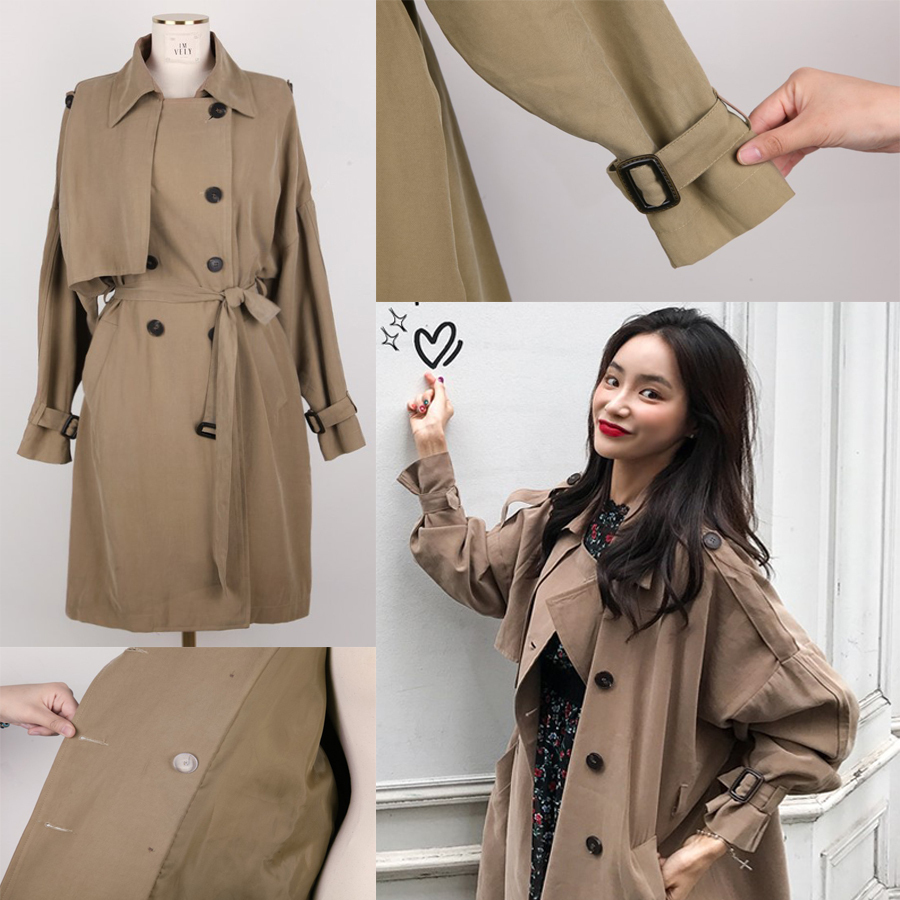 Oversized Double Breasted Trench Coat