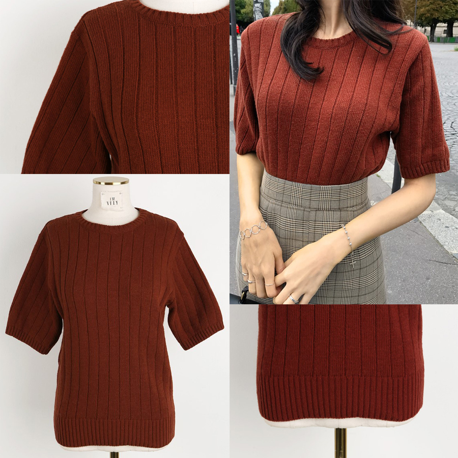 Ribbed Round Neck Knit Top