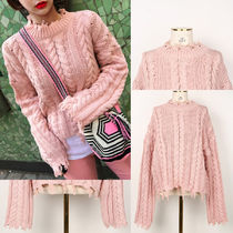 IMVELY(イムブリー) ニット・セーター Chunky Twist Knit Pink Sweater