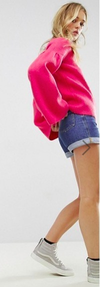 ASOS Jumper in Rib with High Neck and Flared Sleeves
