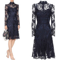 17-18AW DG1337 FLORAL LACE HIGH NECK FLARE DRESS