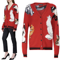 17-18AW DG1339 CAT INTARSIA CASHMERE BLEND WOOL CARDIGAN