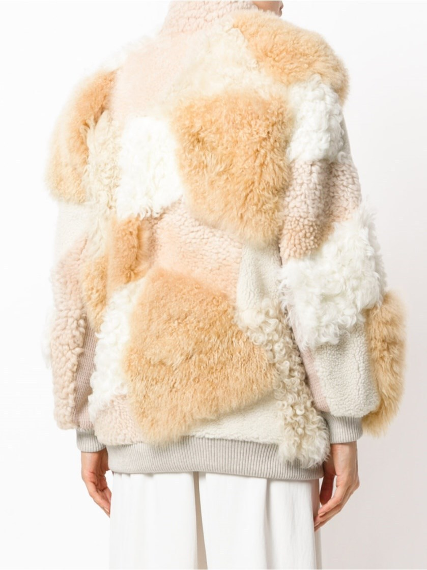 【クロエ】Patchwork Shearling Jacket ジャケット