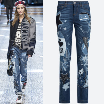 17-18AW DG1342 LOOK15 GIRLY FIT JEANS WITH APPLIQUE