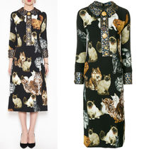 17-18AW DG1344 CATS PRINTED CADY DRESS WITH JEWELRY BUTTON