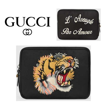 GUCCI(グッチ) Techno canvas tablet case with embroidery 黒