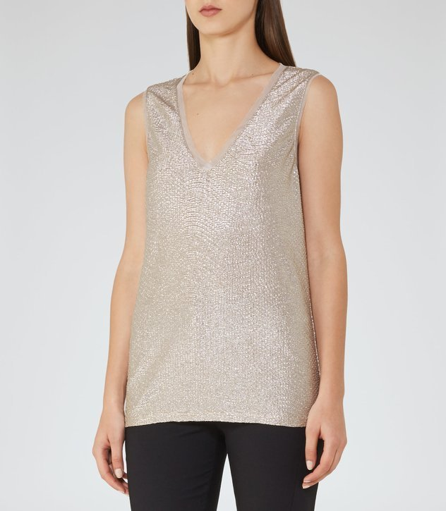 【海外限定】REISS ベスト☆ONA METALLIC FLUID METALLIC VEST