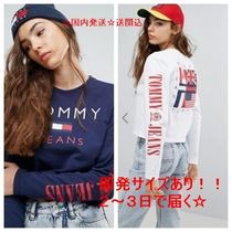 Tommy Jeans★90s クロップトップス 袖ロゴ ロンT 送関込!