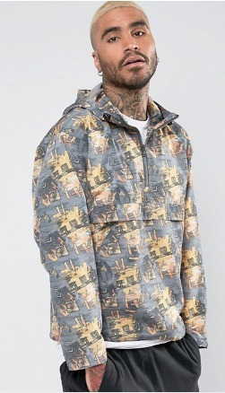 ASOS Overhead ウインドブレーカー With All Over Retro Print