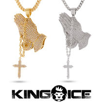 新作登場 KING ICE 14K Gold Rosary Praying Hands ネックレス