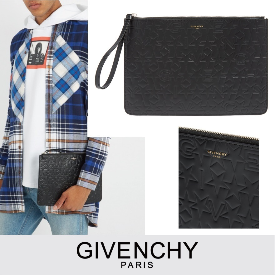 GIVENCHY スターモチーフエンボスレザーポーチ ブラック