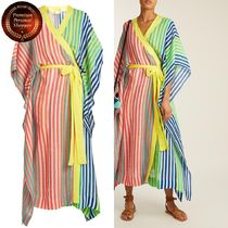 DVF-Striped linen-blend wrap kaftan