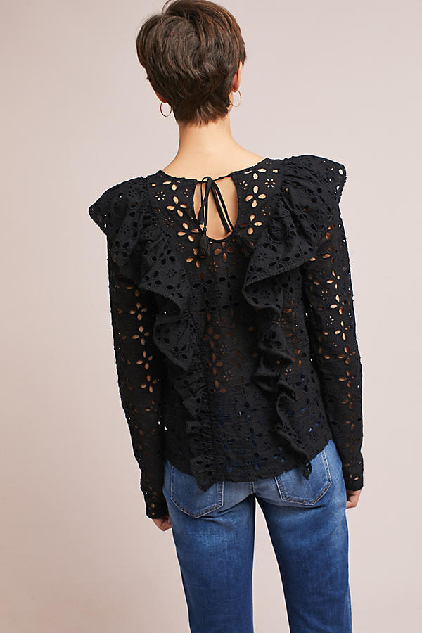 18AW☆最安値保証*関税送料込【Anthro】Ruffled Eyelet Blouse