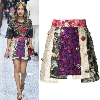 17-18AW DG1362 LOOK92 PATCHWORK JACQUARD MINI SKIRT