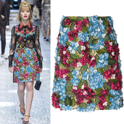 17-18AW DG1367 LOOK58 HYDRANGEA EMBELLISH BROCADE MINI SKIRT