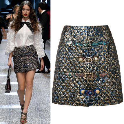 17-18AW DG1368 LOOK113 JACQUARD SKIRT WITH JEWELRY BUCKLE