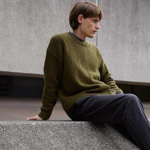 """COS MEN""OVERSIZED JUMPER WITH DROPPED SHOULDERS GREEN"