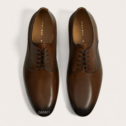 ●ZARA●秋新作♪BROWN EMBOSSED LEATHER SHOES