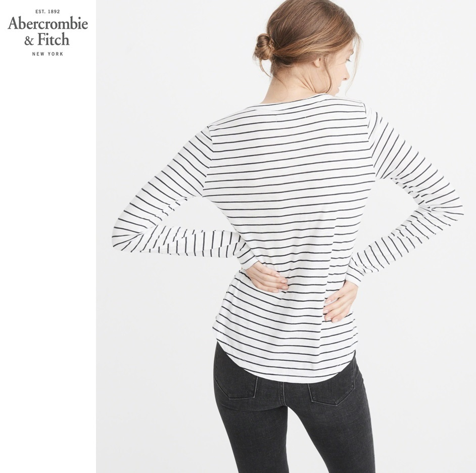 ★送料込★A&F★LONG-SLEEVE NOTCH NECK TEE★