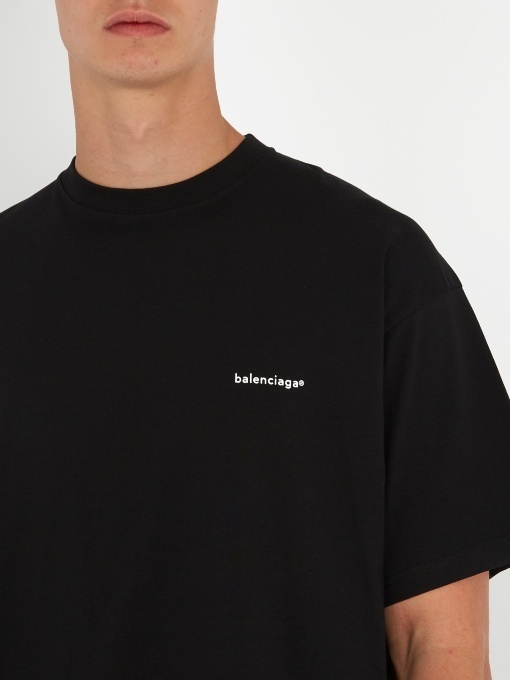 【BALENCIAGA】Oversized logo-print cotton T-shirt