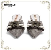 【17AW】★Rochas★Crystal-logo hound's-tooth slipper shoes