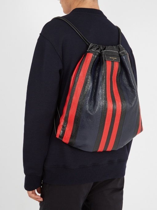 【BALENCIAGA】Bazaar drawstring leather backpack