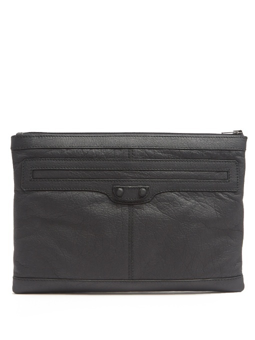 【BALENCIAGA】Clip M grained-leather pouch