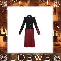 18SS新作◆LOEWE◆Coat Leather Panels Black/Burgundy