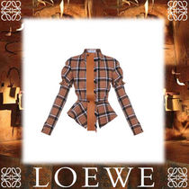 18SS新作◆LOEWE◆Check Jacket W/ Leather Tie beige/brown