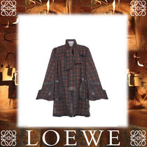 18SS新作◆LOEWE◆Check Coat Dress Brown/Black