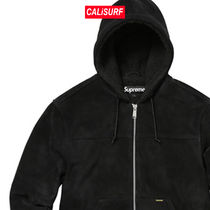 AW17 Supreme(シュプリーム)hooded suede work jacket/BLACK/S