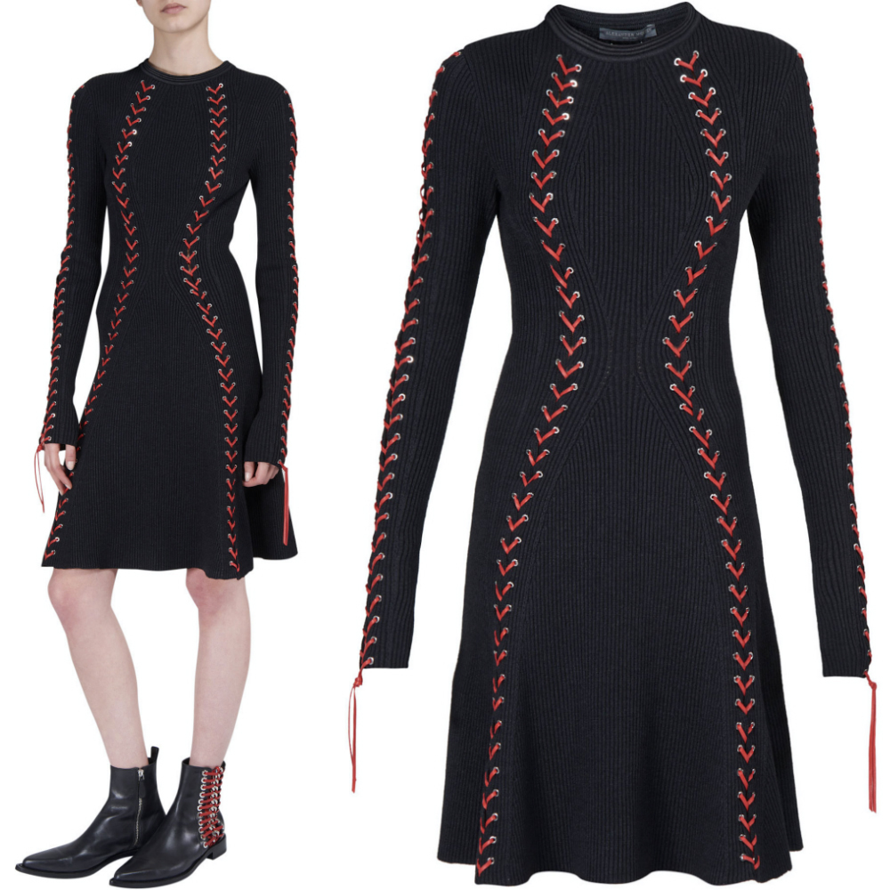 17-18AW AM248 RIB KNIT MINI DRESS WITH LEATHER LACING