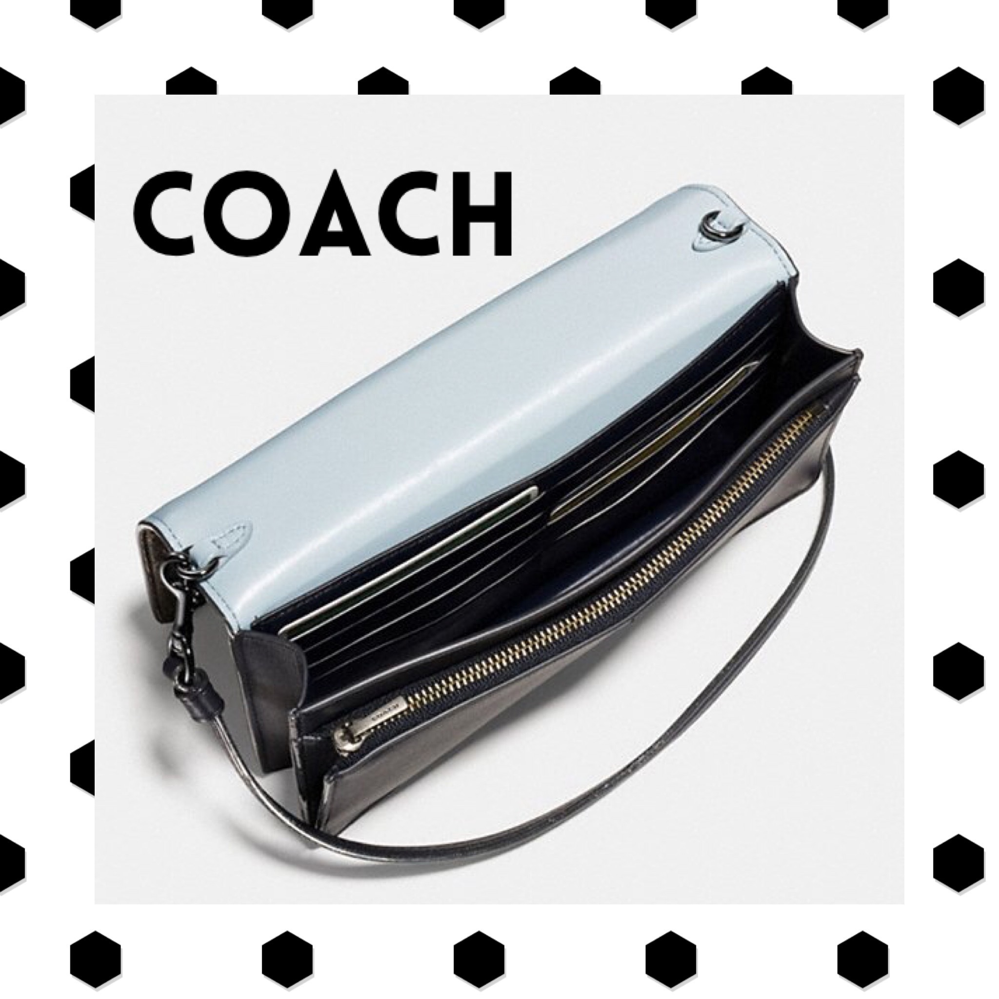 coach / foldover crossbody clutch in striped mixed snake