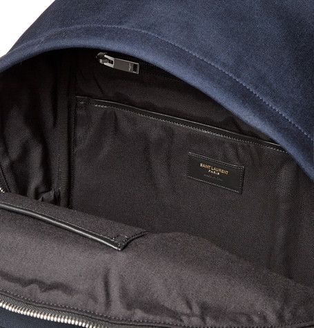 SAINT LAURENT Leather-Trimmed Canvas Backpack Navy