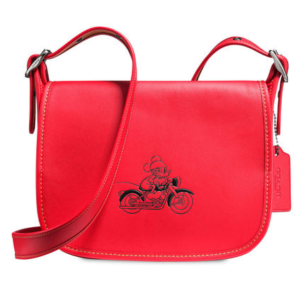 Mickey Mouse Patricia Saddle Leather Bag by COACH - Red