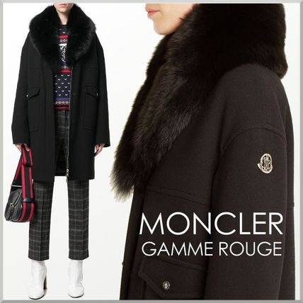 17-18AW★MONCLER GAMME ROUGE ファー襟 ダウン入り コート