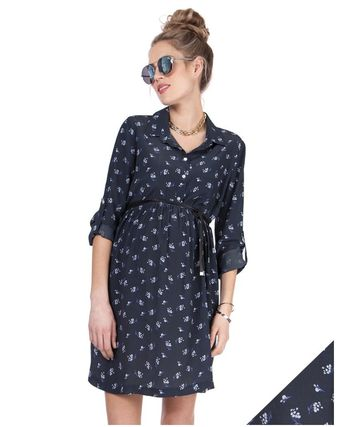 Seraphine-Navy Blue Floral WovenMaternityShirtDress 送関込み