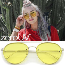 全5色zeroUV*RETRO MODERN RIMLESS FLAT COLOR LENS AVIATOR SUN