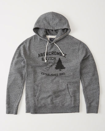 【Abercrombie & Fitch】アバクロ メンズ  BURNOUT LOGO HOODIE