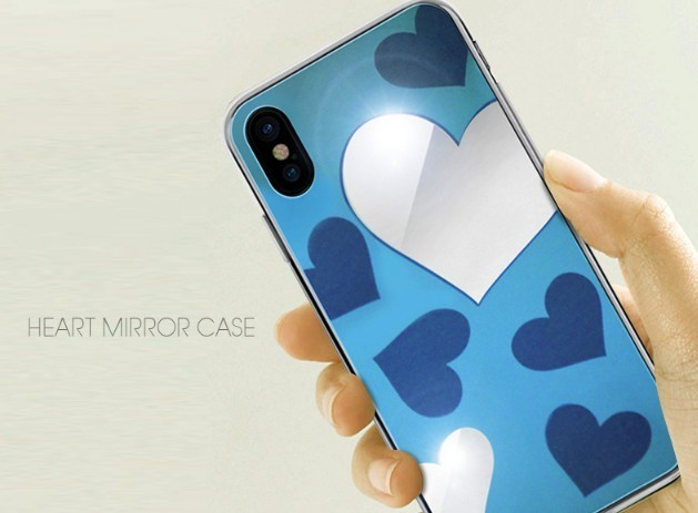 iPhone Xケース DreamPlus Heart MIRROR CASE カバー