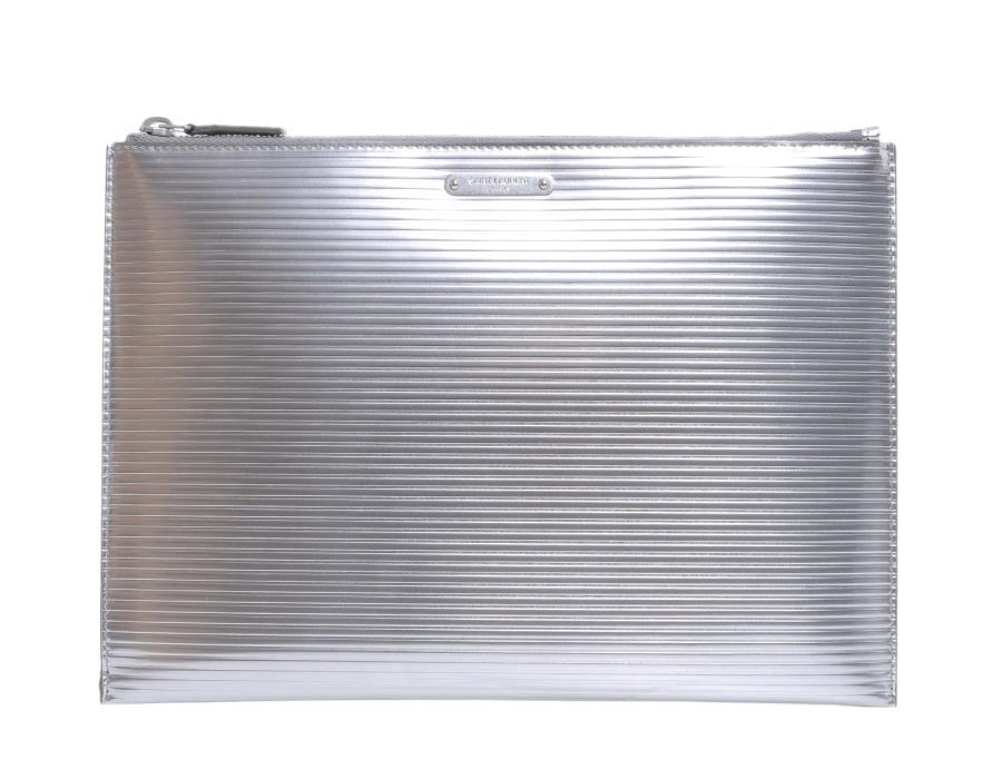 【関税負担】 SAINR LAURENT METALLIC SILVER CLUTCH