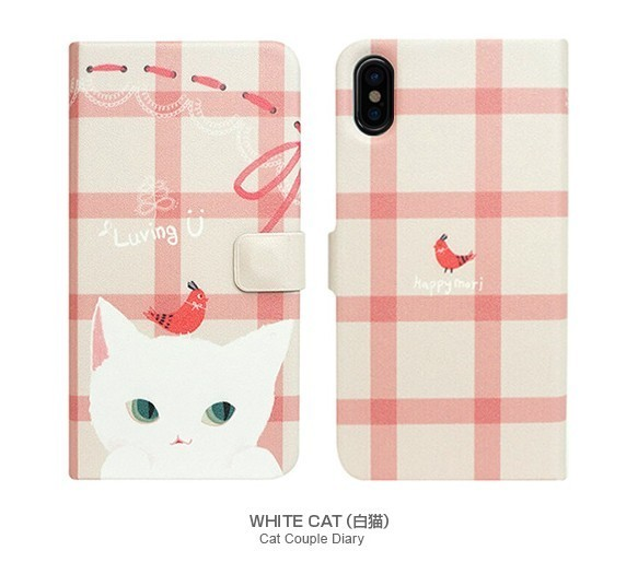 iPhone Xケース Happymori Cat Couple Diary 手帳型 カバー 猫