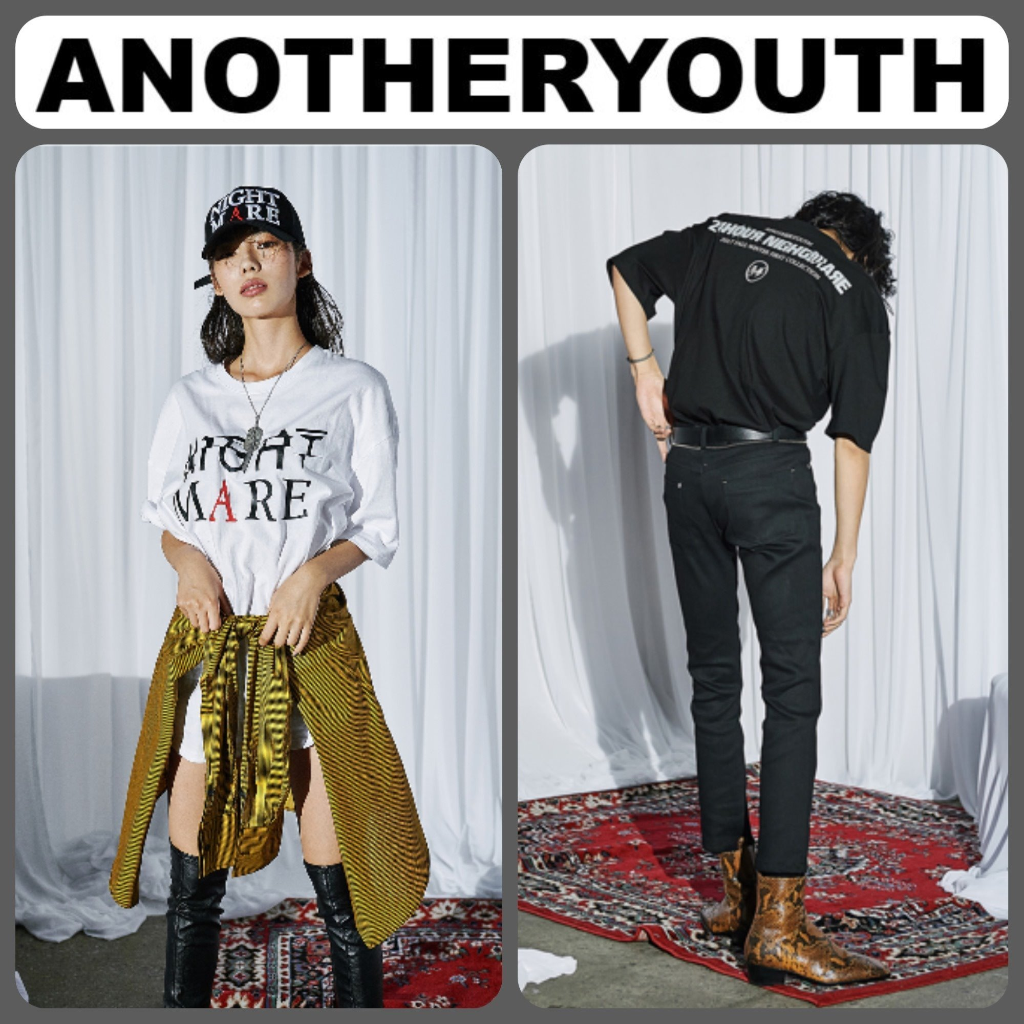 ANOTHERYOUTH】 正規品 ★レタリング Tシャツ 2色 /追跡送料込