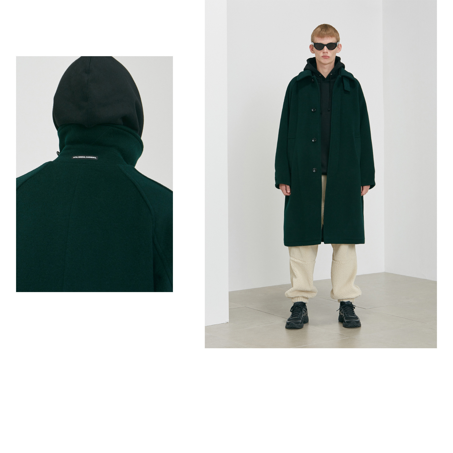 ◇LIFUL◇ MELTON SOUTIEN COLLAR COAT dark green (EMS配送)