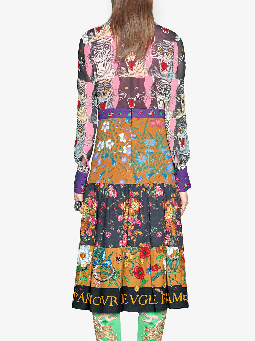 17-18AW WG297 LOOK4 PATCHWORK PRINT DRESS WITH BOW