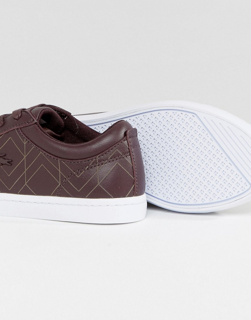 Lacoste Straightset Trainers In Burgundy With Metal Croc