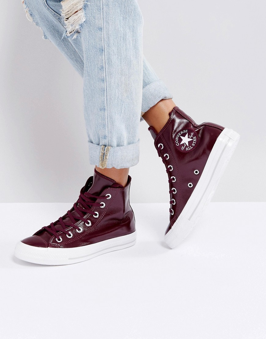Converse Chuck Taylor High Trainers In Patent Burgandy